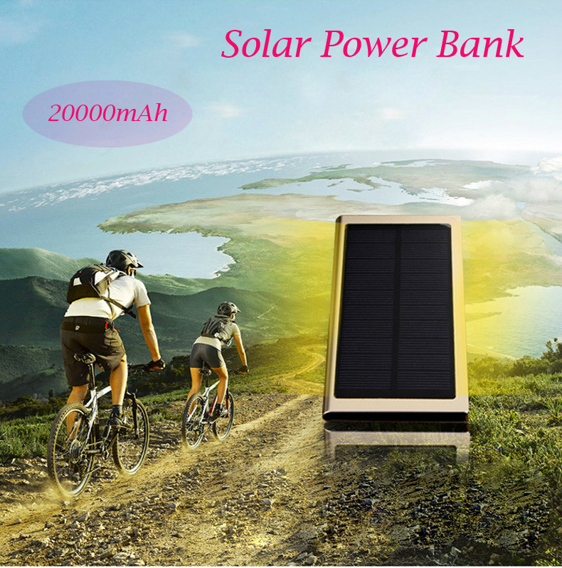 Recommend 20000mAh Solar Power Bank with LED ultra thin External solar charger powerbank for all mobile phone for outdoors