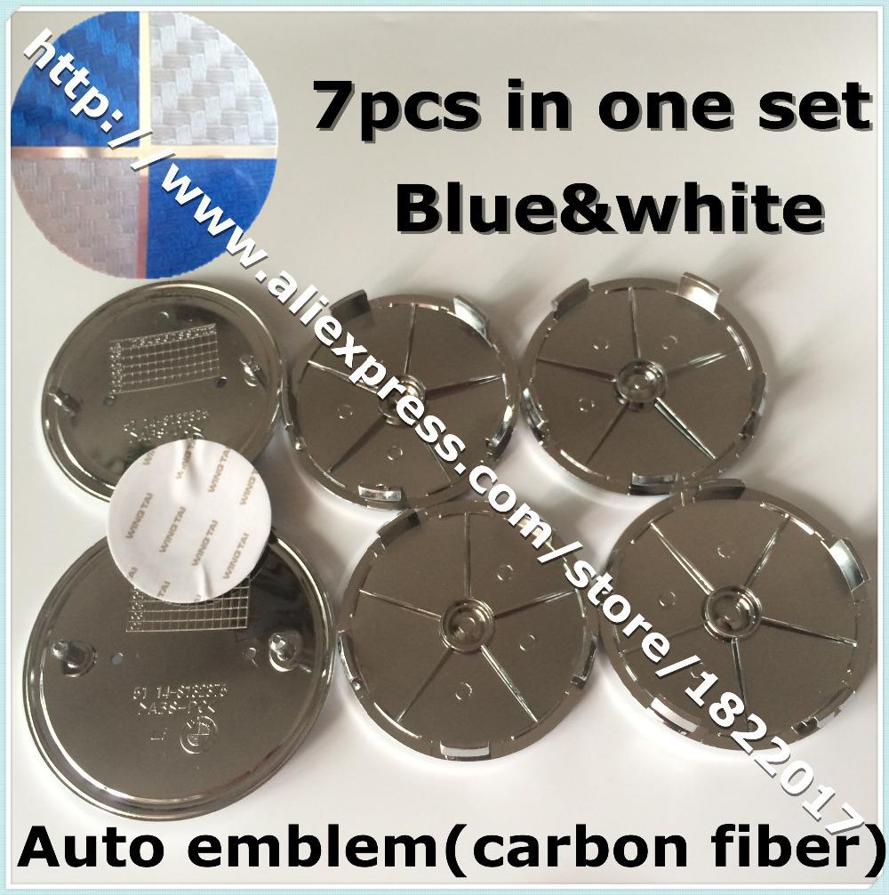 Hot selling 7pcs/set blue white carbon fiber Car Badge Front Hood Emblem+Rear Emblem+4 Wheel Hub Cap + steering wheel sticker(China (Mainland))