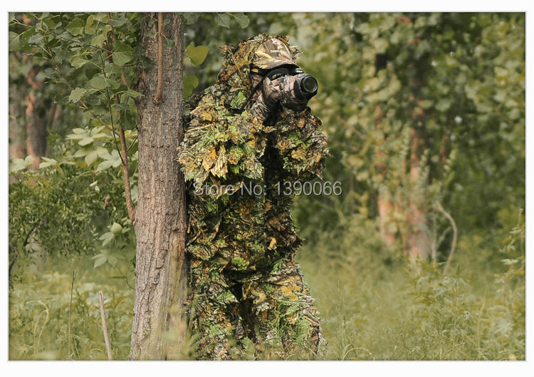 3D Camouflage Clothing Breathable Camo Leaf Clothes Hunting Clothing Yowie Sniper Archery Ghillie Suit Set for Hunting Camping
