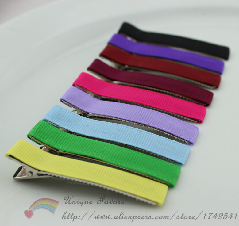 50pcs Assorted Colors 48mm Grosgrain Ribbon Covered Hairclips Metal Hair Barrettes DIY Hair Accessories for Baby Girls(China (Mainland))