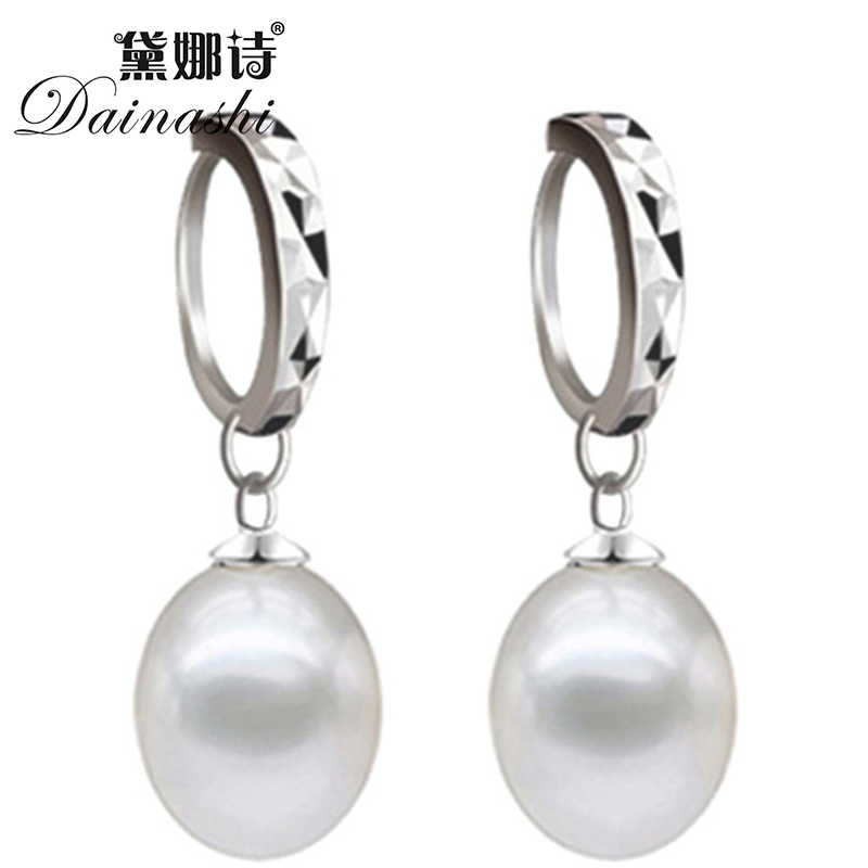 [Promotion Item] 8-9 Natural Water Drop Pearl Hoop Earrings For Women Party Jewerly 925 Sterling Silver Lock Earring Wholesale(China (Mainland))