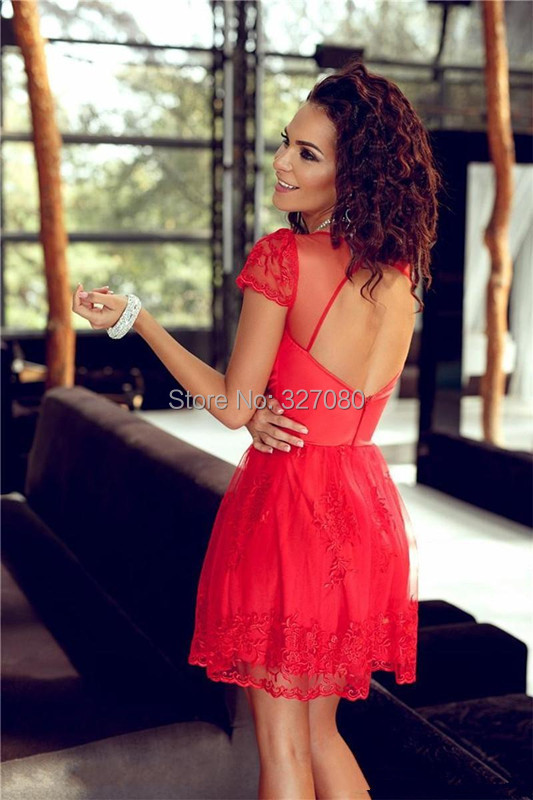 Cocktail Dresses Short Sleeves A-Line Backless Sheer Crew MiNi Lace Tulle Prom Evening Gowns Party Pageant C119 - kemi`s store