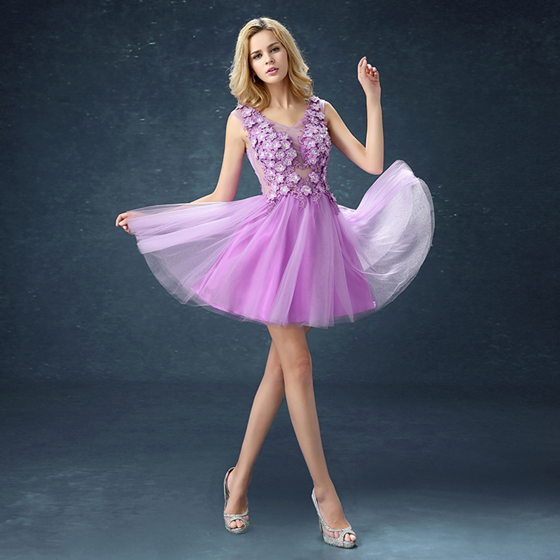 Women dresses Ball Gown A-Line Prom Dresses lavender free shipping lady dresses Appliques fashion dresses women(China (Mainland))