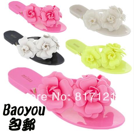 2014 new Melissa jelly camellia sandals flip-flops summer shoes flat cool beach slippers women size 35-40 - Not lovely small foam store