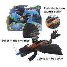 Ação teethless e luz fúria com soluço figura modelo de brinquedo como treinar dragão noite fúria dragão cuspir bala brinquedo desdentado(China)