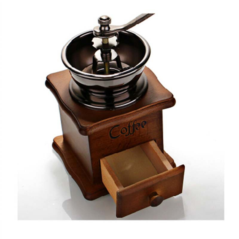 Mini Manual Coffee Mill Wood Stand Bowl Antique Hand Bean Grinder machine coffee - Gondor Tactical Trading Co., Ltd. store