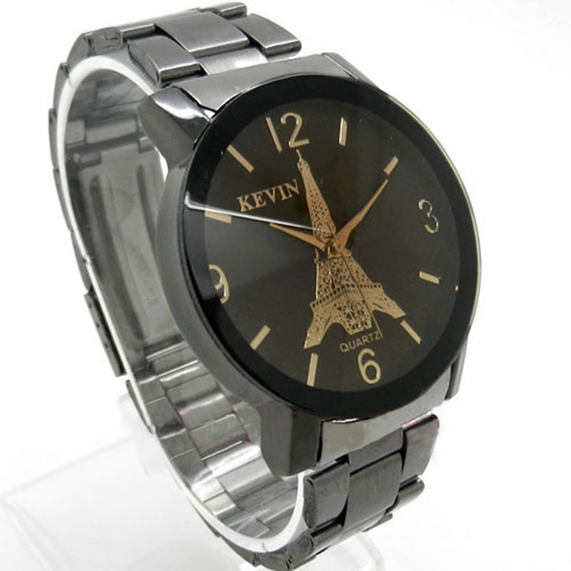 Metal Iron Kevin Paris Eiffel Tower Analog Quartz Wrist Watch Women Men Lovers Q1261