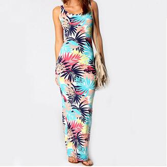 2015 мода женщины длинные платья летние Vestidos свободного покроя синий тропические печать совок шеи макси платье XQ1817