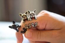 2016  Retro Animal Handmade French bulldog ring Ring Fashion Antique Gold Silver Vintage Adjustable Rings for women JZ315(China (Mainland))