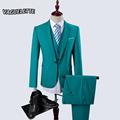 Blazer Pants Vest Tiffany Blue Mens Wedding Suit Luxury Skinny Single Button Mens Formal Wear