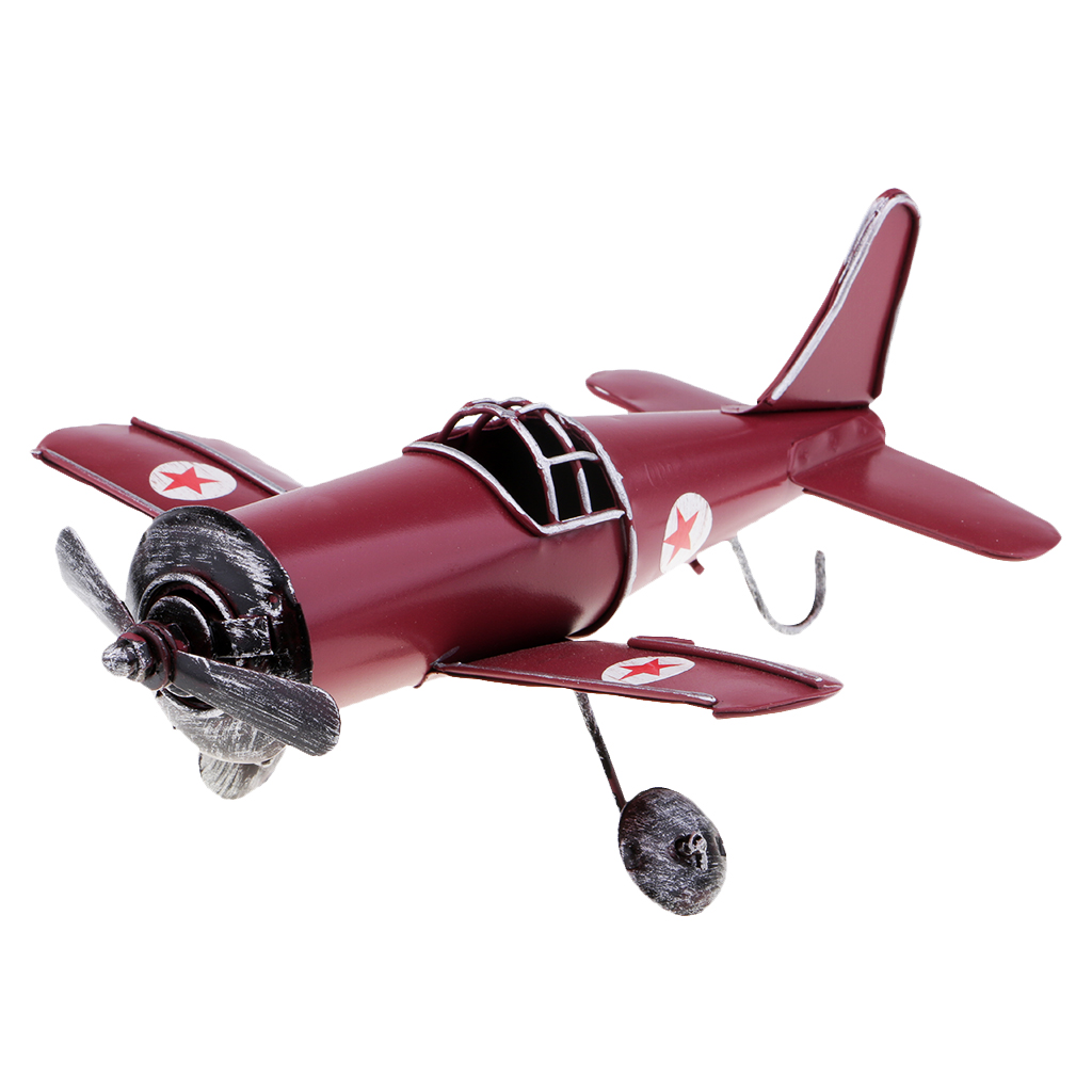 Mini Vintage Metal Airplane Model Aircraft Kid Toys Home Christmas Decor Red