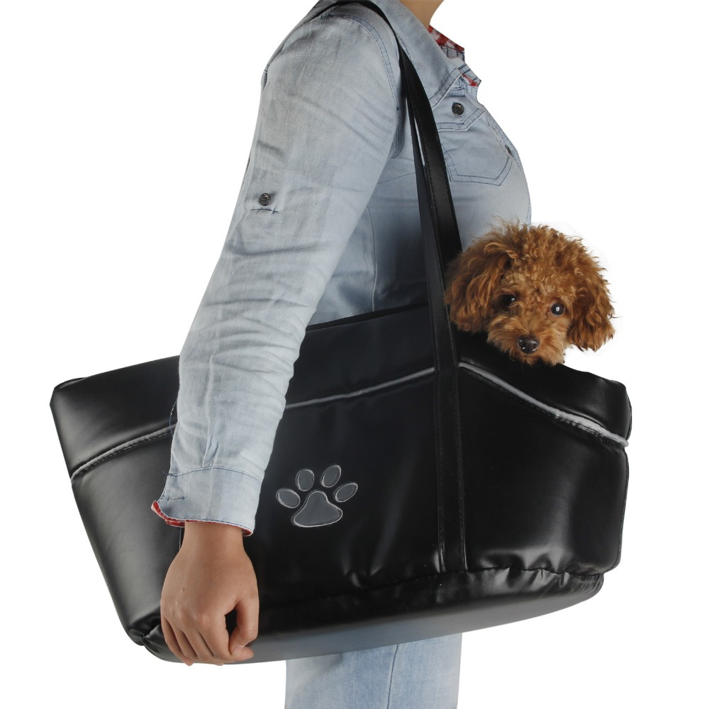 New Pet Carrier Dog Cat PU Leather Black Dog Puppy Cat Dog Carrier for Small Large Dogs Trip Soft Carrier Bag Free Shipping(China (Mainland))