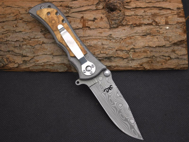 Buy Survival Knife BROWNING Pocket Hunting Damascus Pattern Folding Blade Knife Huntting Tactical Knives Camping Outdoor EDC Tools 1 cheap