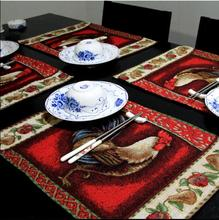 RN301 Europe christmas jacquard placemat place mat red cock   linen 33*46cm table dinner ornament  4pcs/lot  wholesale(China (Mainland))