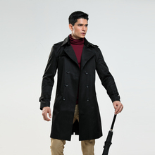 AIMENWANT Men's trench coat size custom-tailor England double-breasted long pea coat trench slim fit classic trenchcoat as gifts(China)