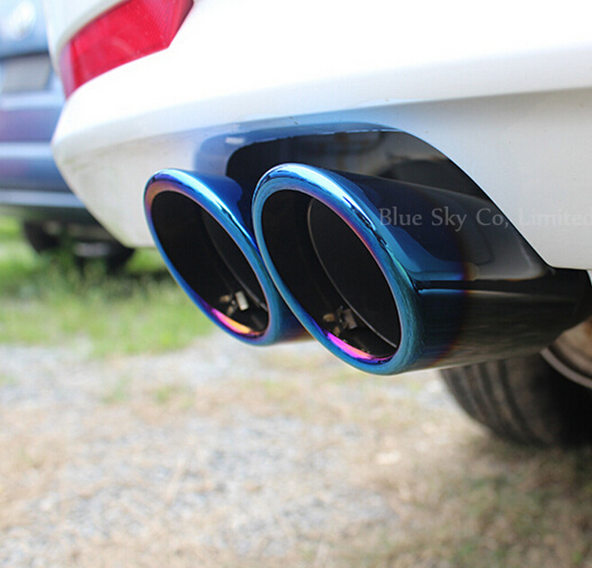 2014 Hot ! Stainless steel Chrome Exhaust Muffler Tip Pipe car styling auto accessories VW Volkswagen Golf 7 MK7 1.4T - Blue Sky co, Limited store