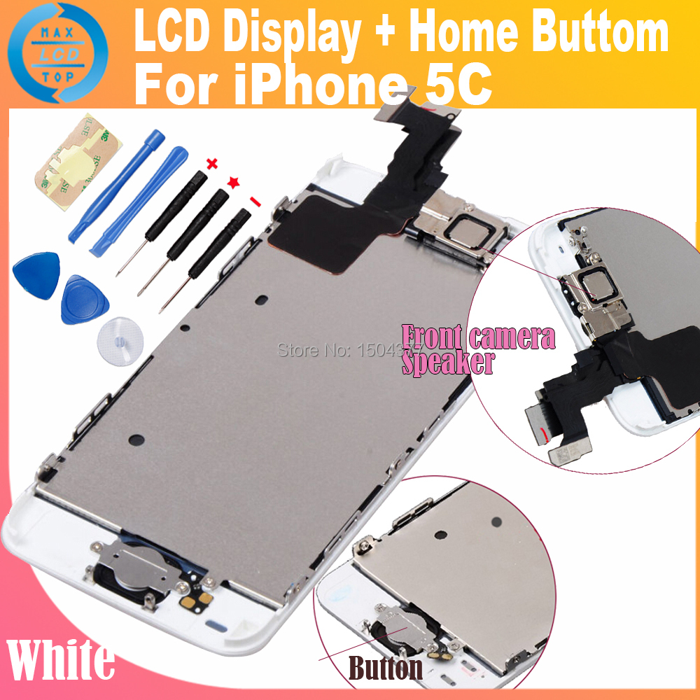 White Display For iphone 5C LCD Assembly and Touch Screen Digitizer +Home Button+Front Camera+Ear Speaker Complete Full Set(China (Mainland))