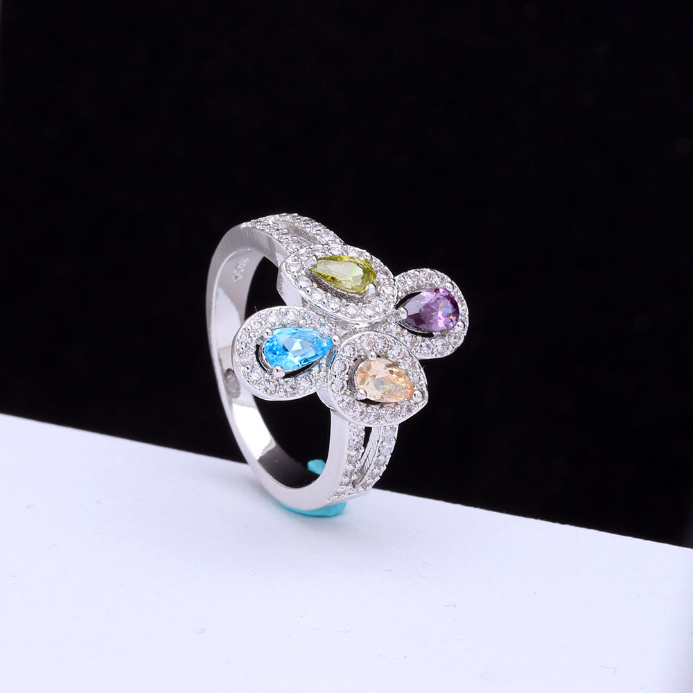 Silver Plated Wedding Band Gift For Women Cross Bridal Engagement Ring Flower Spring Imitation