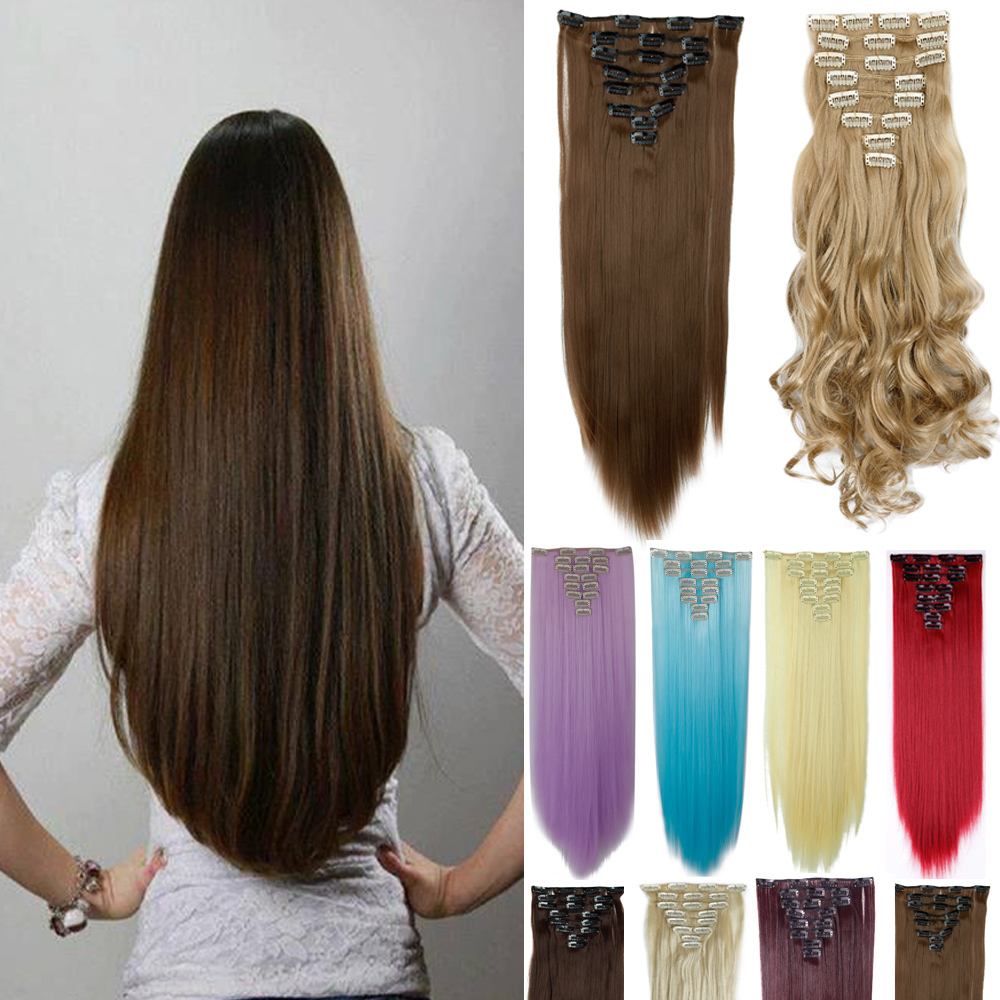 Free Shipping Clip in Hair Extension 26inch 8pcs/set 170g no Heat Resistance Straight Hair Clip In Synthetic Hair Extension(China (Mainland))