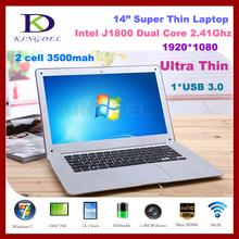 14 inch ultrabook laptop computer, Intel Celeron J1800 Dual Core 2.41Ghz, 2GB RAM, 320GB HDD, Mini HDMI, Windows 7, WiFi, Webcam