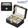 Free Shipping 3 Grids Leather Watch Display Box Top Brand Watches Storage Box Upscale Solid Watch