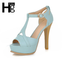 HEE GRAND Women Shoes High Platform Shoes Candy Color OL Pumps Sexy Peep Toe Sandals High Heel Shoes Woman Plus Size XWZ1875(China (Mainland))