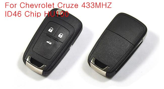 Free Shipping Original Size Quality A+ 3 Button Remote Key  Chevrolet Cruze 315MHZ ID46 Chip HU100 Uncut Blade