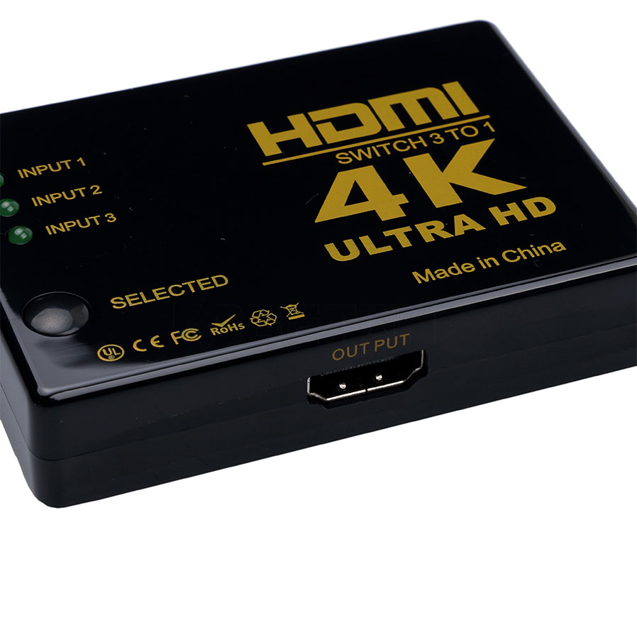 2016 High Quality 4K*2K 3 input to 1 output HDMI switcher HDMI Hub Splitter TV Switcher Ultra HD for HDTV PC for PS3 Xbox360(China (Mainland))
