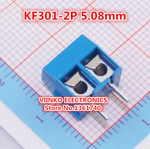 Free Shipping 20pcs KF301-2P KF301-5.0-2P KF301 2Pin 5.08mm Plug-in Screw Terminal Block Connector