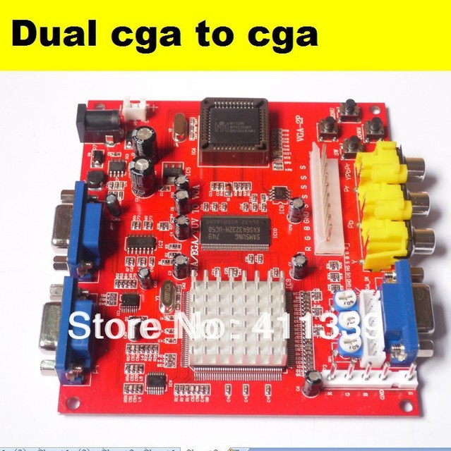 4 pcs CGA TO VGA Converter, CGA/EGA/YUV to VGA (2 VGA output)