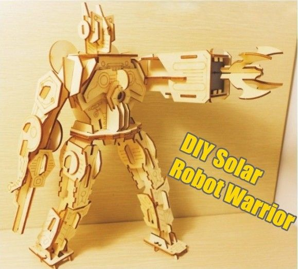Free Shipping 4Pieces Eco-friendly DIY Solar Robots Wooden Toys Robot Warrior Model Kits(China (Mainland))