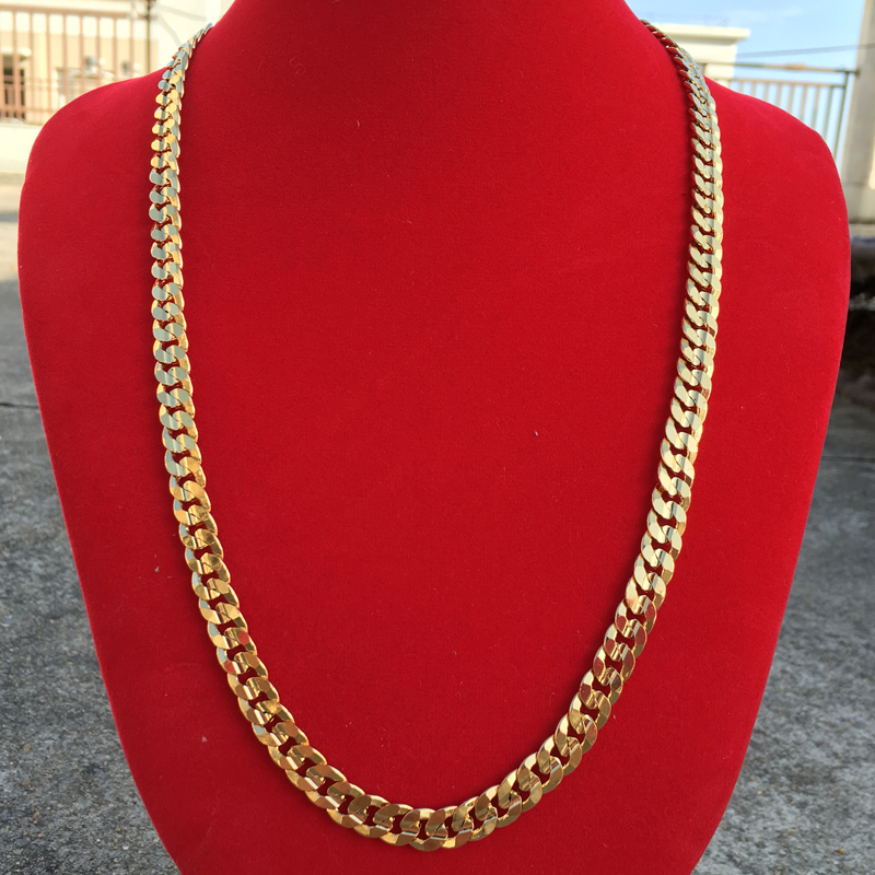 60cm * 7mm Cool Men Snake Necklace Water Resistant 24K Gold Plated Stainless Steel Necklace Chain Gift(China (Mainland))