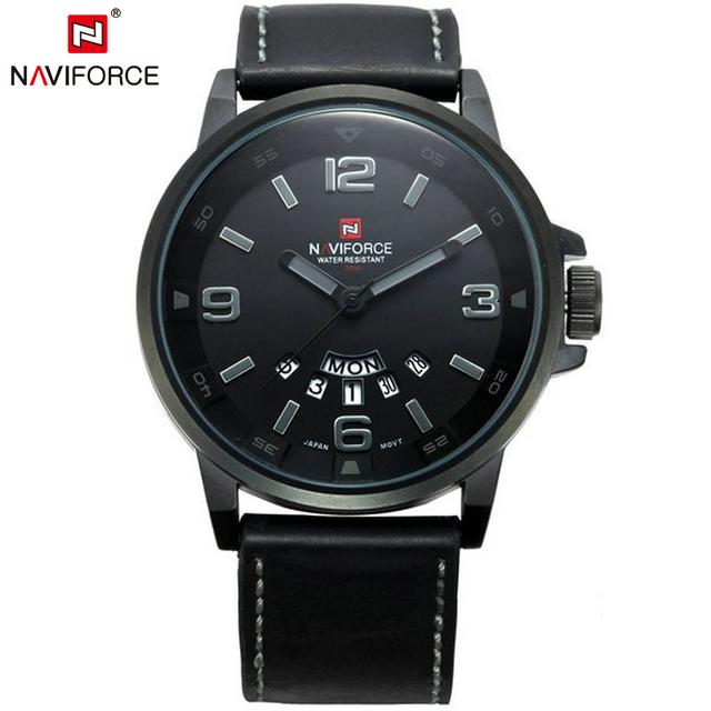 Naviforce календарная 9028 роскошный кварцевые часы мужчины дата кожаный ремешок часы мода свободного покроя военнослужащих наручные часы Relojes хомбре 2016