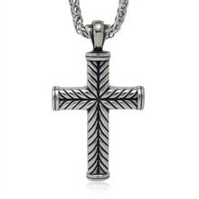 2015 Titanium Steel Male Necklace Pendants Fine Cross Vintage Jewelry Love Sweater Long Chain Necklace Accessories Sp160(China (Mainland))