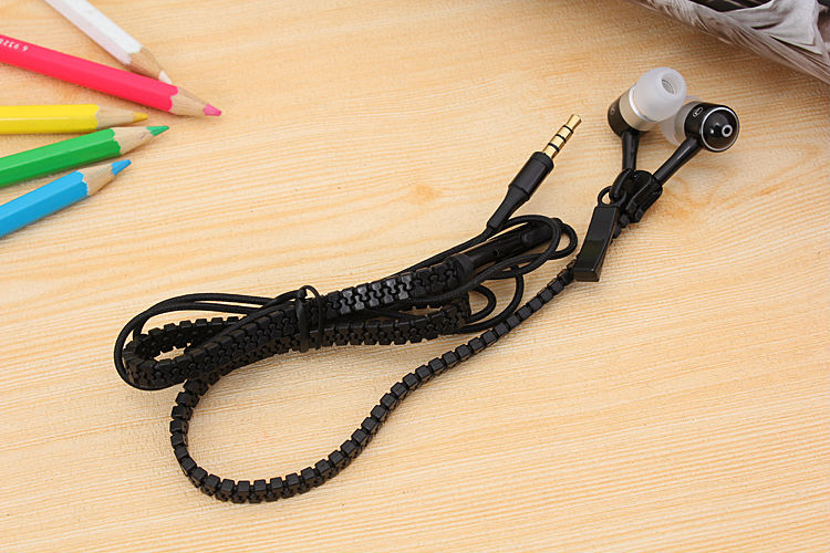 Metal Zipper Earphone 3.5mm In-Ear Wired Ear Phones With Microphone Stereo Bass Earbuds For Mobile Phone MP3/4 fone de ouvido