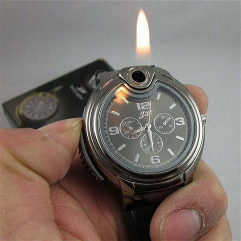 Military Lighter Watch Novelty Man Quartz Sports Refillable Gas Cigarette Cigar Men's Watches Luxury Brand Gift Retail Box 2016(China (Mainland))
