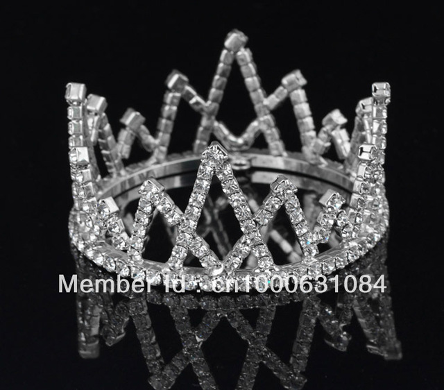 Free Shipping 6pcs/lot Fashion Silver Plated Crystal Children Mini Tiara Lovely Rhinestone Wedding Crown Charm Triangle Jewelry