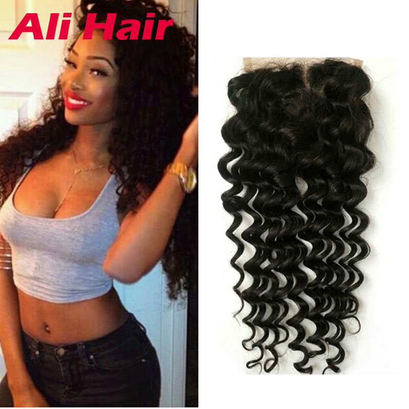 Raw Indian Sew In Weave Lace Closure Deep Wave Middle Three Part 20 Inch With Baby Hair 4x4 Lace Closure Grade 8A Indian hair