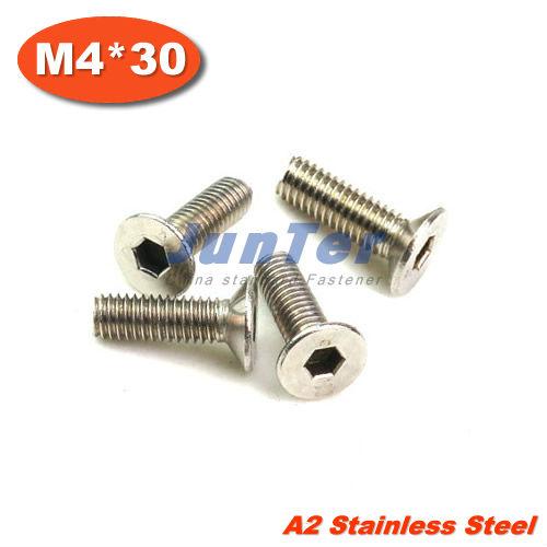 DIN7991 M4 x 30mm Stainless steel A2 Flat Socket Head Cap Screw 50PCS<br><br>Aliexpress