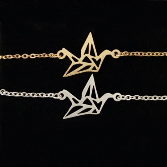 1 Minimalist Jewelry Silver Gold Filled Stainless Steel Bird Tattoo Cute Origami Crane Charm Bracelets 2016 B001 - Show store