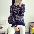 High Quality Casual Loose Oversized Cross Printed Girls O Neck Long Sleeve Pullover Black Wool Cashmere