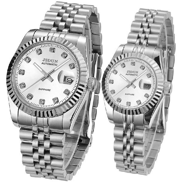 JSDUN Classical Date Display Stainless Full Steel Business Dress Automatical Men's Mechanical Self Wind Luminous Wrist Watch8737