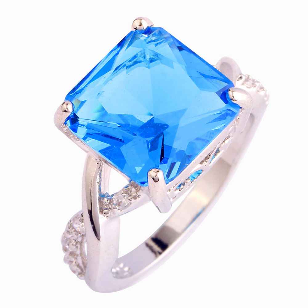 New Fashion Rings Saucy Blue Topaz Silver Ring For Anniversary Size 6 7 8 9 10 Wholesale Free Shippi