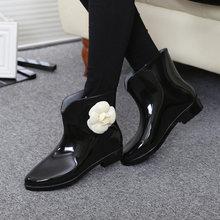 Kadın Bahar yağmur çizmeleri lastik çizmeler Çiçek Papyon 2019 bileğe kadar bot Kadın Su Geçirmez Katı Ayakkabı Bebek Yağmur Ayakkabı Bayanlar Rahat(China)