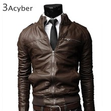 New Korean Style Men's Slim Zipper Designed PU Leather Coat Jacket 2 Colors/L XL XXL Brown Black Drop Shipping 10(China (Mainland))