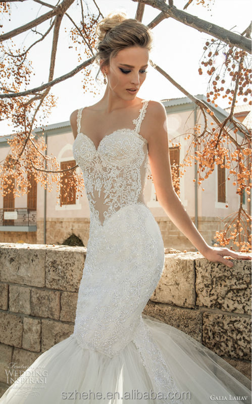 Buy cw2349 glamorous spaghetti straps for See through corset top wedding dress