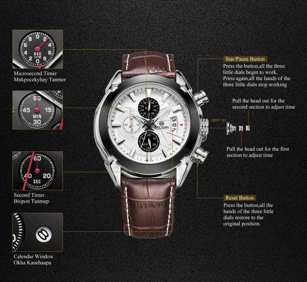 MEGIR мужская Спортивные Часы Военная Хронограф Водонепроницаемый Наручные Часы Relógio Masculino