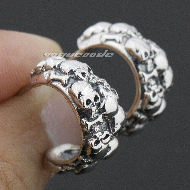 925 Sterling Silver Skulls Mens Biker Rocker Stud Earring 8R008_#pair - voguecode store