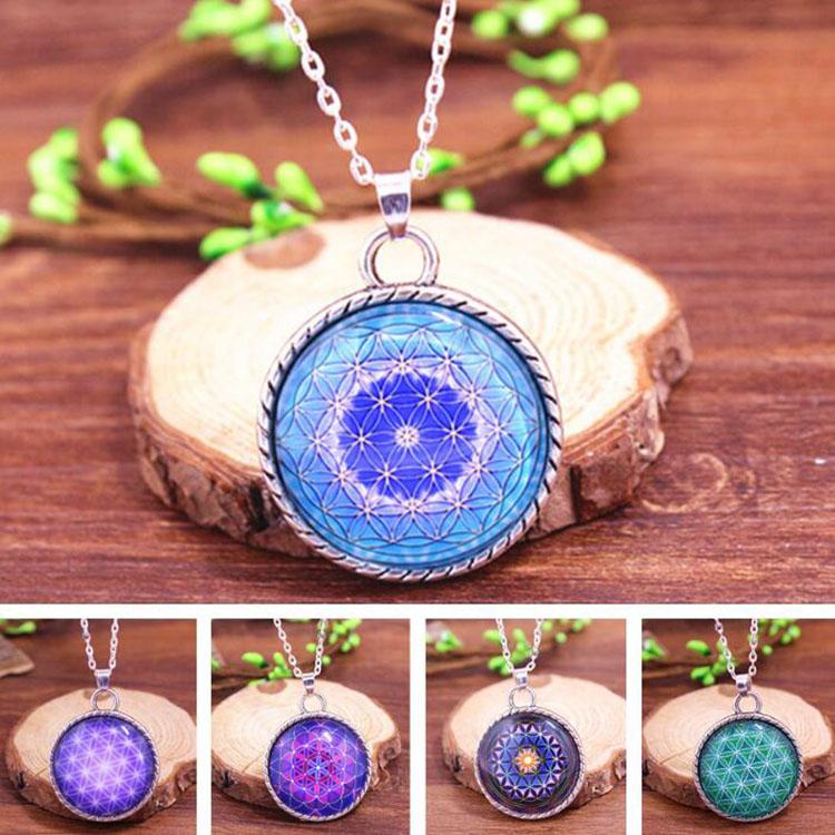 Purple Flower of Life Pendant Necklace OM Chakra Yoga Mandala necklace fashion jewelry glass dome sacred geometry women(China (Mainland))
