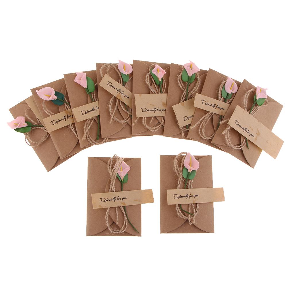 10 Sets Vintage Kraft Handmade Dried Flowers DIY Wedding Invitation Envelopes Post Cards Gift Birthday Congrats Card
